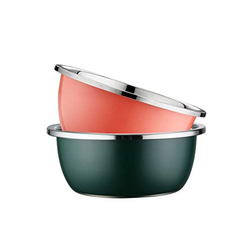 HAOXIANG Large Mixing Bowl 2-Piece, Stainless Steel Color Mirror Kitchen Bowls for Cooking and Serving – Easy to Clean, Exceptional Good Gift (34Cm),28+28cm
