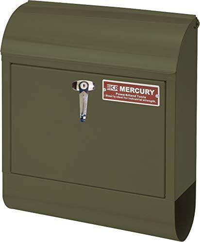 マーキュリー 壁掛け ポスト HANDLE LOCK メールボックス 16×38×45cm マットオリーブ