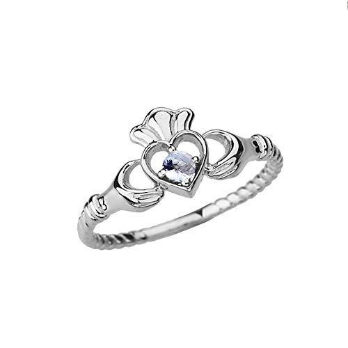Kleine Schätze Damen Ring Weißgold Echte Aquamarin Solitär & Öffnen Herz Claddagh Ring