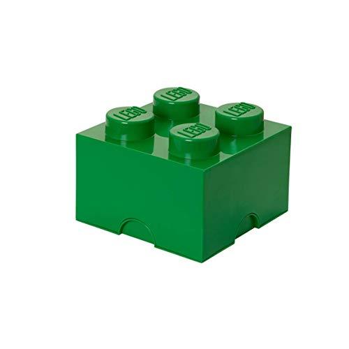 LEGO Aufbewahrungsstein, 4 Noppen, Stapelbare Aufbewahrungsbox, 5,7 l, grün