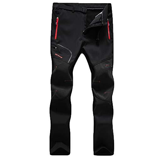 Volwassen Pantalones de Senderismo Impermeables para Hombre Pantalones de esquí Gruesos de Invierno Pantalones de Trabajo para Caminar de Secado rápido Camping Negro