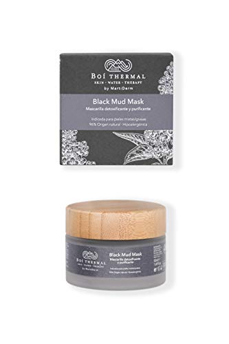 Boí Thermal Black Mud Mask. Mascarilla Facial Detoxificante Y Purificante. Pieles Mixtas Y Grasas. Cosmética Natural Y Vegana. Apto Pieles Sensibles. Hipoalergénico. 50 ml.