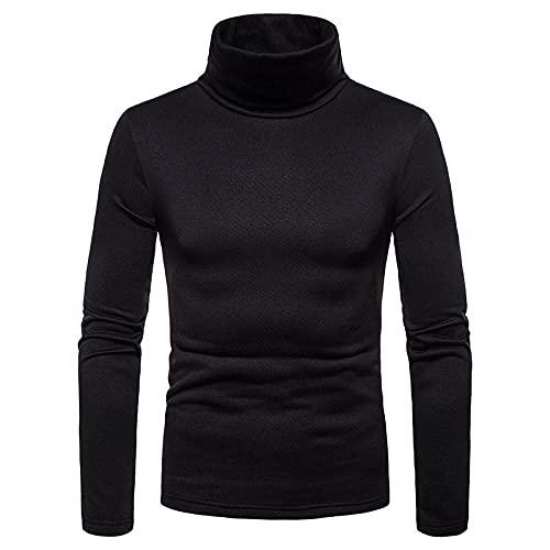 Axiamoncha - Jersey térmico de manga larga para hombre, corte holgado, estilo informal y casual, cuello redondo, color liso., Negro , L