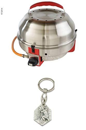 Zisa-Kombi SAfire Grill, 50mbar Gas-Grill aus Edelstahl (932988916612) mit Anhänger Hlg. Christophorus