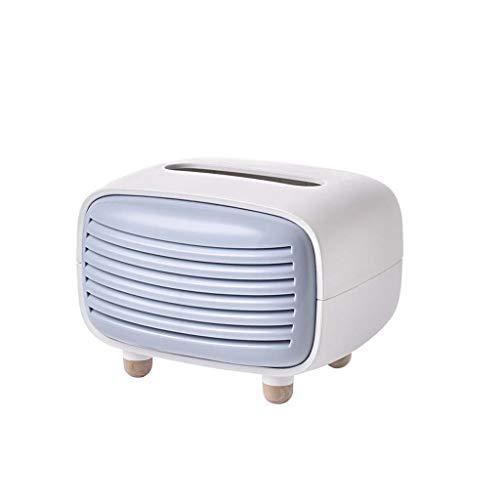 BLEUNUIT Caja de pañuelos, radio vintage, caja de pañuelos faciales, cubierta, servilletero, organizador, dispensador de toallas de papel, contenedor para baño, coche, oficina, hogar, decoración, azul