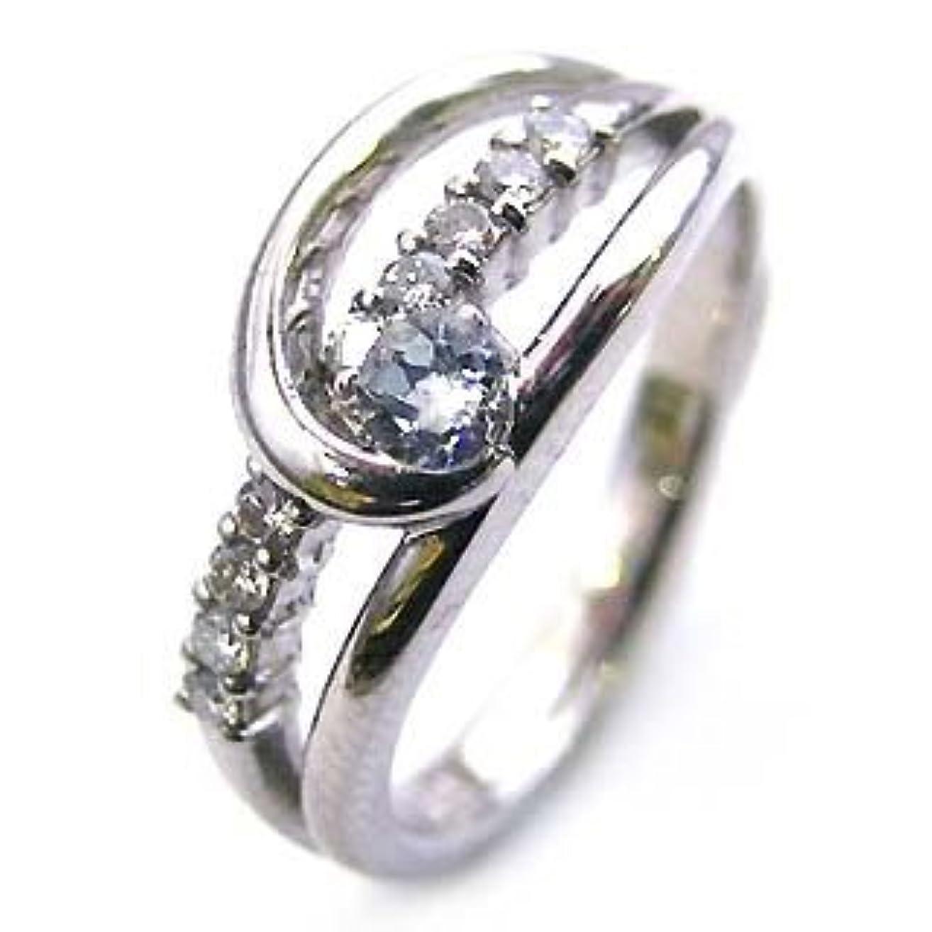 サイレン収縮教授10個のダイヤモンドで記念 プラチナ アクアマリン?ダイヤモンドリング #15