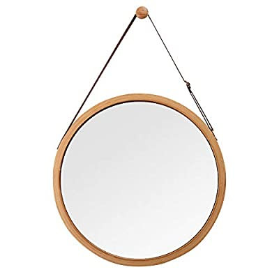 """Hanging Round Wall Mirror in Bathroom & Bedroom - Solid Bamboo Frame & Adjustable Leather Strap, Makeup Dressing Home Decor (Bamboo Natural, 15"""")"""