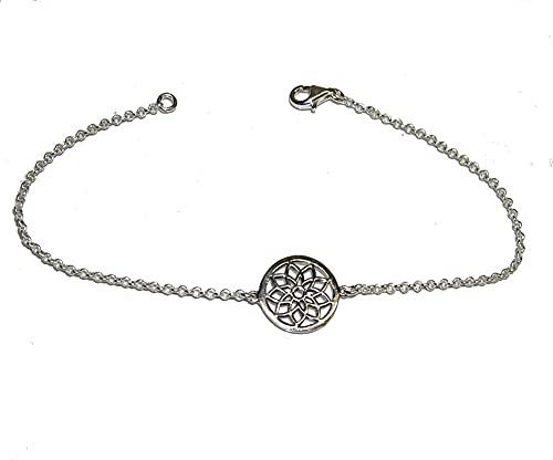 PULSERA PLATA de LEY Mandala Flor. Geometria sagrada de 1,3 cm diametro Longitud pulsera standart 18 cm, o solicitar medida. Con Estuche Regalo