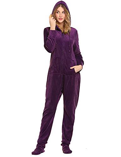 Unibelle Damen Jumpsuit Strampelanzüge Schlafoverall Einteiler Pyjama Jumpsuit Ganzkörperanzug Violett M