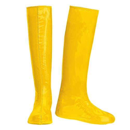 NET TOYS GoGo Schuhüberzieher Stiefel-Überzieher | Gelb | Aufreizendes Damen-Kostüm-Zubehör Stulpenstiefel Überschuhe | Perfekt geeignet für 90er-Party & Straßenkarneval