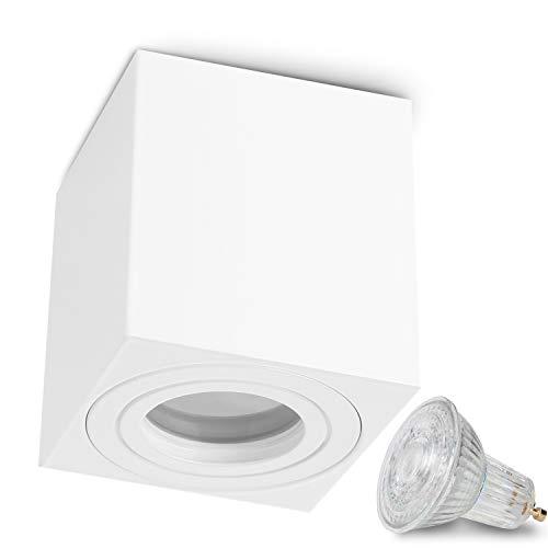JVS Aufbauleuchte Aufbaustrahler Deckenleuchte Aufputz MILANO IP44 5W LED Warmweiss GU10 Fassung 230V quadrat weiss Strahler Deckenlampe Aufbau-lampe Downlight aus Aluminium