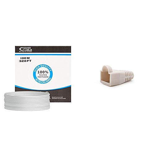 NanoCable 10.20.0302-FLEX - Cable de red Ethernet flexible RJ45 Cat.5e UTP AWG24, gris, bobina de 100mts + 10.21.0301-OEM - Funda para conector de cable de red Ethernet RJ45, bolsa de 10 unidades