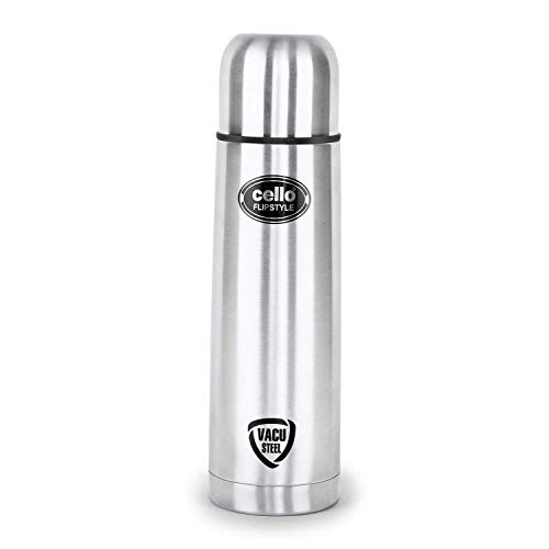 Cello Flip Style Stainless Steel Double Walled Flask, Hot and Cold, 1000ml, 1pc, Silver