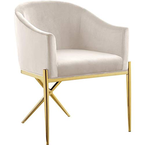 Meridian Furniture Xavier Collection Modern | Contemporary Velvet Upholstered Dining Chair with Sturdy Steel X Shaped Legs, 25.5' W x 24.5' D x 31.5' H, Cream