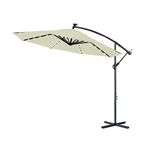 Aufun Ombrelloni in Alluminio 350 cm con Protezione Solare a LED Bianco UV 40+ - Parasole per Balcone Regolabile in Altezza (Beige con LED Solare)