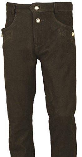 Fuente Bayerische Lederhose Herren Tracht lang- Damen Trachtenlederhose lang aus hochwertiges Echt Leder Nubuk Leder, Braun (52, Braun)