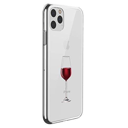 Alsoar Compatible para Funda iPhone 11 Pro MAX 2019 (6.5 Inch) Carcasa Silicona TPU Suave Transparente Anti-Choque Protector Caso Patrón Lndo Ultra-Delgado Anti-arañazos Caja (Copa Vino Tinto)