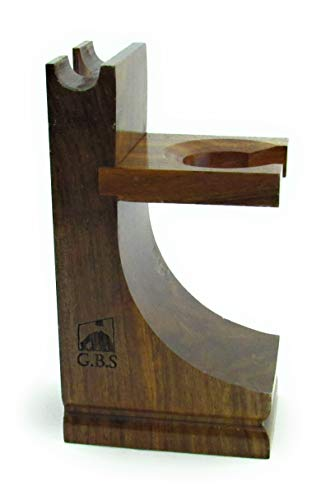 GBS Wood Brush and Razor Stand - Walnut Finish 5'...