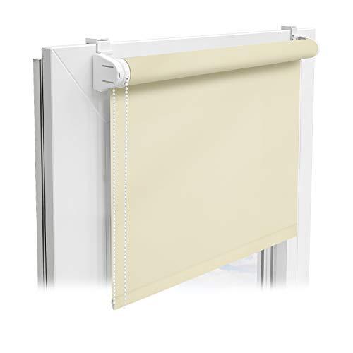 Floordirekt Sichtschutzrollo | lichtdurchlässiges Rollo als Sichtschutz am Fenster | Klemmfix ohne Bohren | (Creme, 60x150 cm)