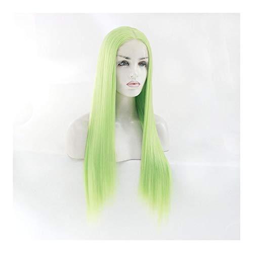 LUZIWEN Perruque fil haute température perruque vert clair (Color : 20 inches)
