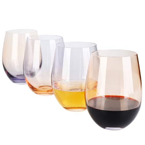DESIGN·MASTER Colorful Stemless Wine Glasses, 2020 Fashion Trends, Lead-free Drinking Glasses, Ideal for Red and White Wine, Cocktail, Water and Party Gifts. 18 OZ, Set of 4 (Smoke grey & Whiskey)