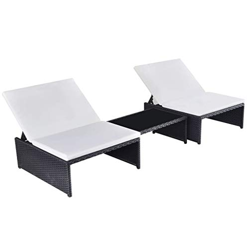 vidaXL Sun Loungers, Outdoor Lounge 2 pcs with Table,for Sunbathing, Patio, Pool Deck, Garden, Lawn or Beach Lounging Chair, Poly Rattan Black and White