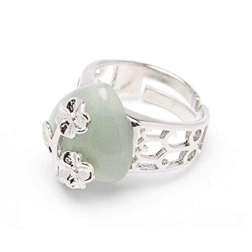 Gflyme - Anillo abierto para mujer, ajustable, simple, flor de ciruelo, verde, piedra de aventurina, anillo unisex, joyería de plata, regalos para bodas, graduación, cumpleaños, promesa de cumpleaños