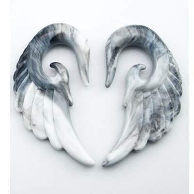 DYKJK 10 expansores para orejas con forma de alas de ángel/plumas, dilatadores de oreja en espiral para hombres y mujeres (color de la piedra principal: 5 mm, color metálico: mármol)