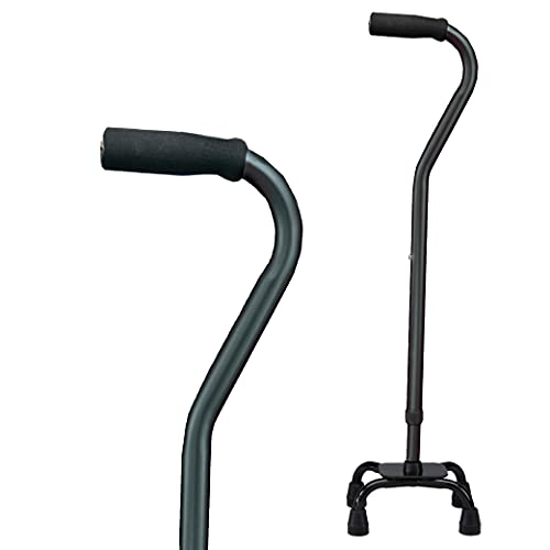 carex health brands canes Carex Health Brands Quad Cane with Small Base - Adjustable Height Quad Cane and Walking Stick with Small Base - Holds Up to 250 Pounds, Black, Universal