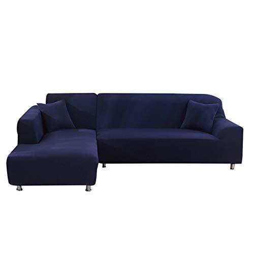 Jian Ya Na - Copridivano estensibile, copridivano angolare, in poliestere, estensibile per divano a L + 2 copricuscini, Tessuto, blu, 2 Place + 3 Place