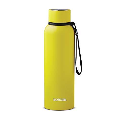 Borosil Stainless Steel Hydra Trek - Vacuum Insulated Flask Water Bottle, 700 ML, Yellow