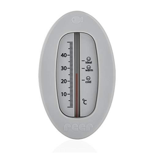 reer Baby-Thermometer für die Badewanne mit süßem Unterwasserwelt-Motiv, kindersicheres Bade-Thermometer, grau