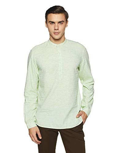 John Players Men's Solid Slim Fit Cotton Casual Shirt (ZCMWSHS180011_Green_44)