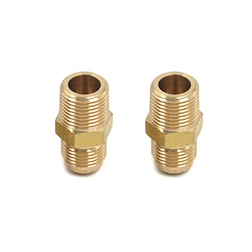 Quluxe 2 Pcs of American Standard Hydraulic Joint Brass Flare Half Union Tube Fitting Hex Head SAE 45 Degree Flaring 3/8