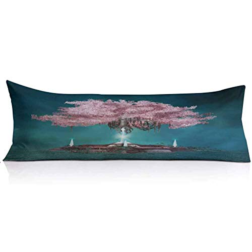 LCGGDB Magical Body Pillowcase,Magical Blossom Plant Hanging in Air Rootless Free Plant Supernatural Image Decorative Body Pillow Cover for Adults Pregnant Woman,1PCS,Lilac Petrol Blue
