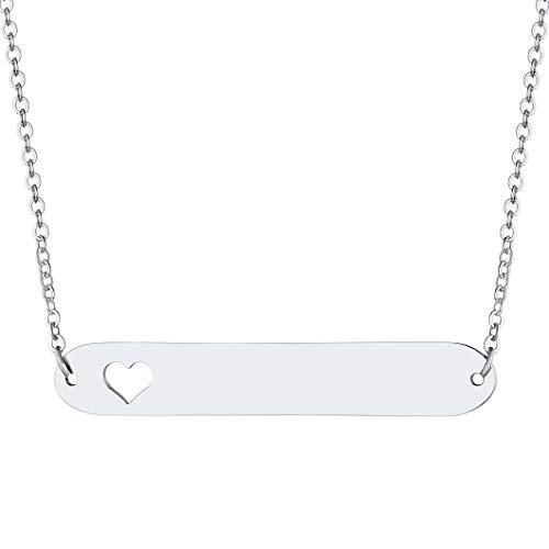 Richsteel Collar con Nombre Personalizado Gargantilla con Colgante Acero Inoxidable
