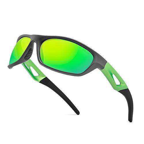 OSLOB UV 400 Schutz Sport Brille Polarisierte Sonnenbrillen für Herren und Damen für Radsport Fahrrad Baseball Skifahren ST003 (GREY/GREEN)