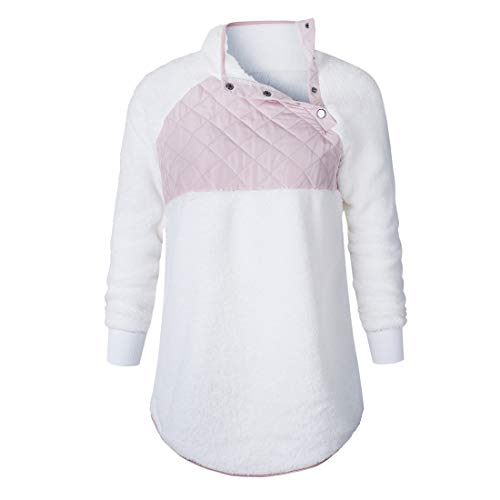 Pullover Damen Tops Damen Casual Mode Warme Damen Mantel Winter Mantel Für Damen Breiter Revers Locker Warm Fleece Elegant Damen Casual Tops A-White M