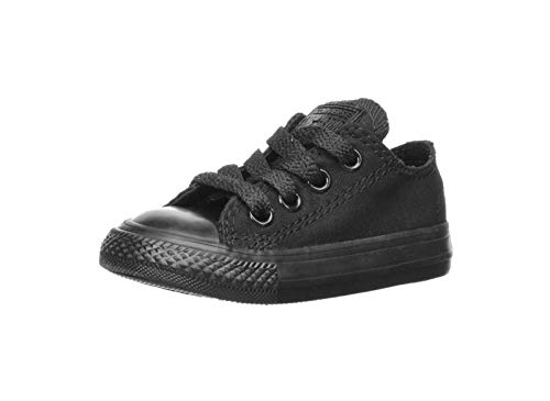 Converse unisex-child Chuck Taylor All Star Low Top Sneaker, black monochrome, 7 M US Toddler