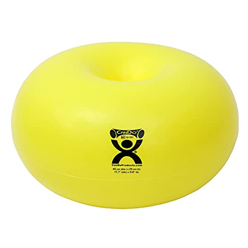 CANDO 30-1951 Donut Exercise, Workout, Core Training, Swiss Stability Ball for Yoga, Pilates and Balance Training in Gym, Office or Classroom. Yellow, 45 cm