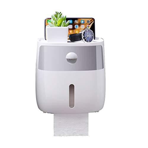 Afairy Soporte de Papel de Papel Toalla de Papel Toalla de Papel Montado con Estante y cajón para baño (Color : Gray)