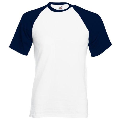 Fruit of the Loom T-Shirt de Baseball à Manches Courtes pour Homme (3XL) (Blanc/Bleu Marine Profond)
