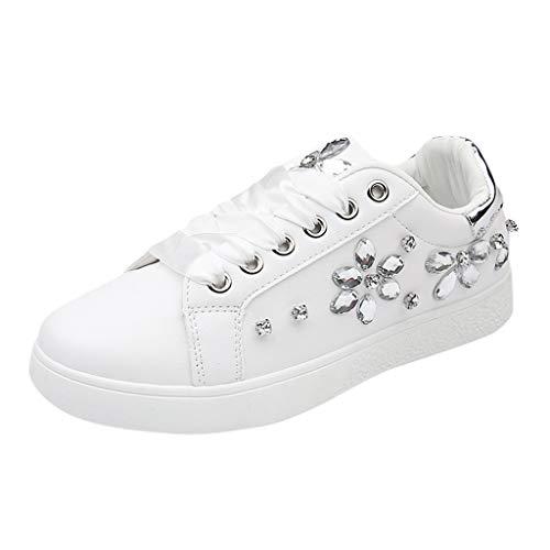Alwayswin Damenmode Sneakers Student Freizeitschuhe Flache Sportschuhe Nähen Weiße Schuhe Bequeme Weicher Boden Turnschuhe rutschfeste Schnüren Lederschuhe Damenschuhe