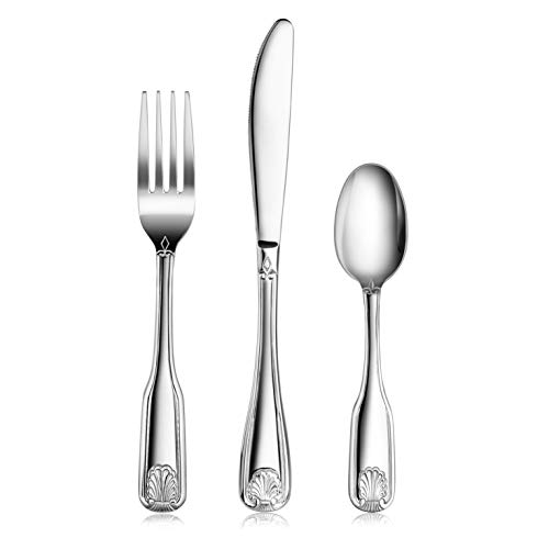 New Star Foodservice 58901 Shell Pattern, 18/0 Stainless Steel, 36 piece Flatware Set