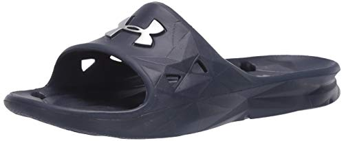 Under Armour Men's Locker III Slide Sandal, Midnight Navy (410)/Metallic Silver, 12