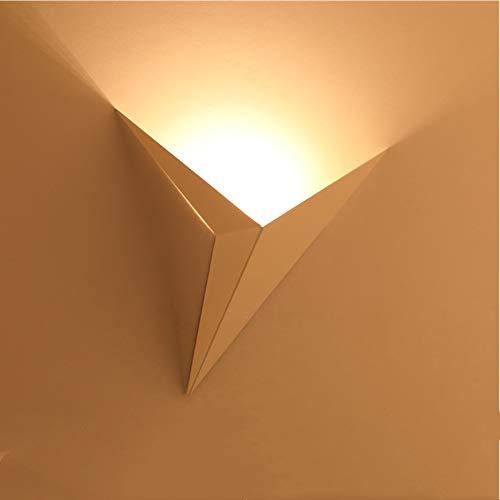 AUA LED-Wandleuchte für den Innenbereich, moderne Wandleuchte, 3 W, Metall, Dreieck, Nachtlicht für Flur, Schlafzimmer, Treppen (warmes Licht)