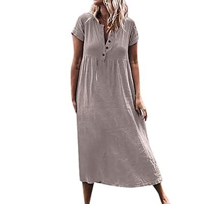 Women Casual Long Dress,KIKOY Solid V-Neck Short Sleeve Dress Splice Button Dress