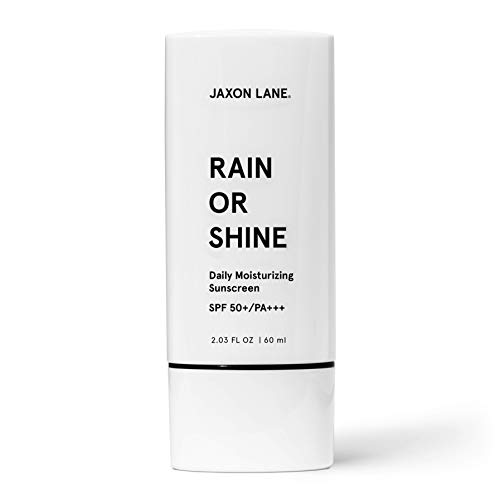RAIN OR SHINE Anti Aging Face Sunscreen SPF 50 for Clear Skin w/Green Tea, Hyaluronic Acid, Vitamin C, Vitamin E Oil, Ginseng Extract, Licorice Root – SPF Moisturizer for Face, Fragrance Free 2.03 Oz