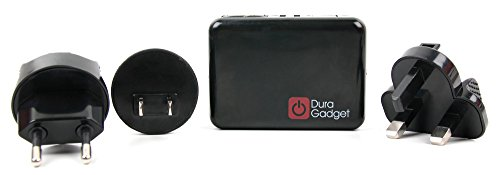 Duragadget Chargeur + Adaptateurs Internationaux pour Smartphone Blackberry Q20 et Z3/Jakarta et Yezz Andy A5QP & AZ4.5 phone, NOMU S30 Mini, UMIDIGI C NOTE, HOMTOM ZOJI Z7 - Garantie 2 ans
