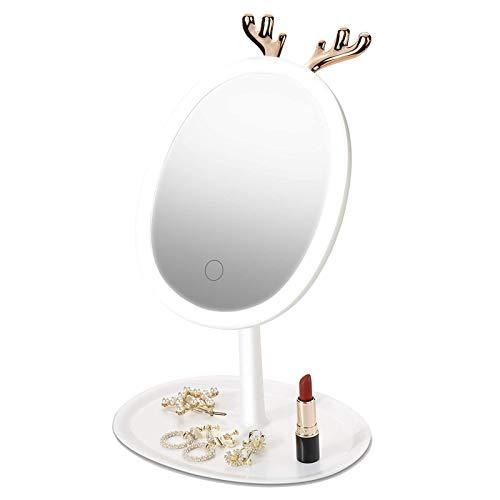 Espejo Maquillaje con Luz, Espejo Iluminador Portátil para Viajes, Espejo Cosmético Pantalla Táctil De Mesa, Carga USB, Beauty Espejo para Maquillarse, Puede Colgar Joyas, Espejo De Mesa, Blanco